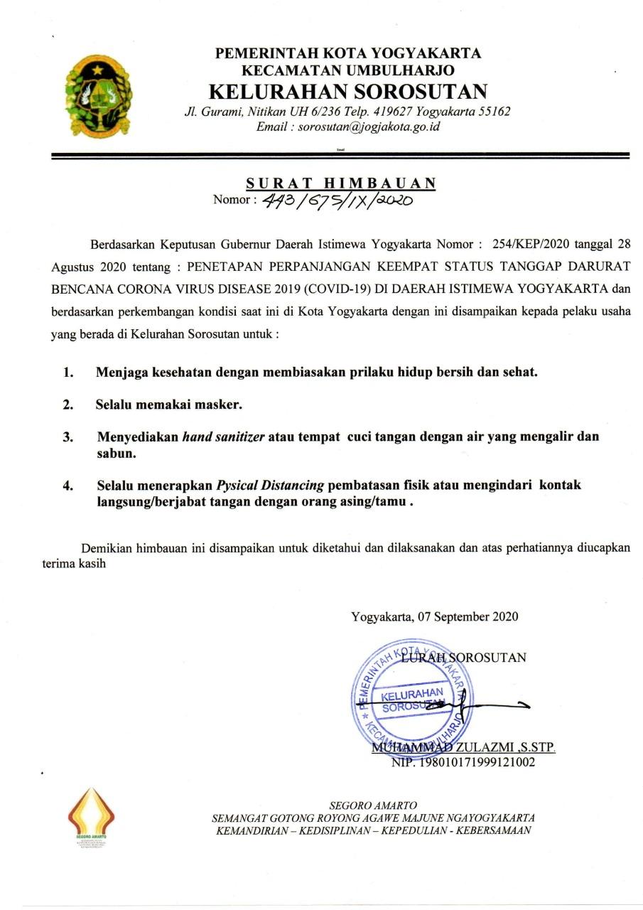 Himbauan Lurah Sorosutan bagi pelaku Usaha di Kelurahan Sorosutan